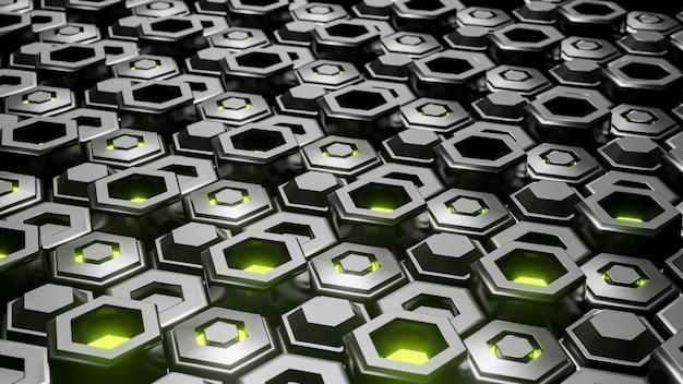 Abstrait géométrique hexagonal noir en couches.