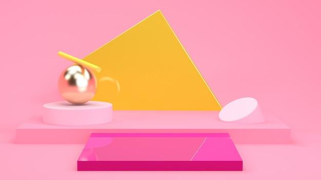 Abstrait géométrique minimaliste, couleurs pastel, rendu 3d, affiche de la tendance, illustration.