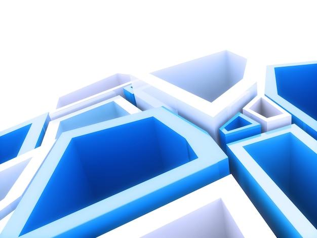 Abstrait géométrique avec modèle d'éléments bleus
