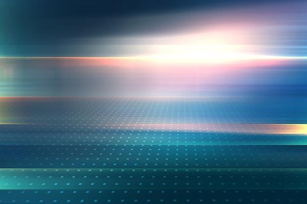 Abstrait graphique avec lens flare et ligne rougeoyante à distance