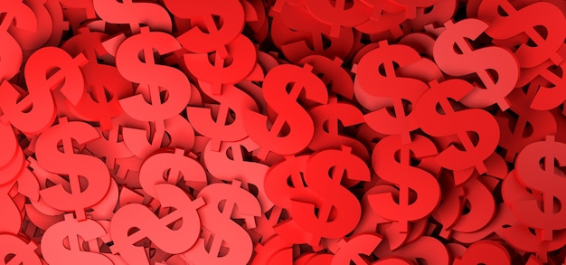 Abstrait avec illustration de symbole de devise dollar rouge 3d