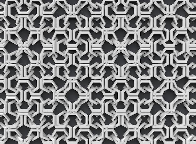 Abstrait irrégulier motif d'objets géométriques blancs sur noir bakcground.