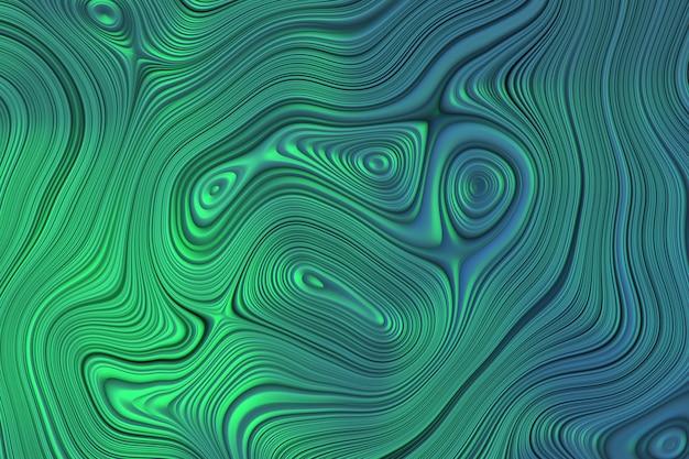 Abstrait avec des lignes courbes texturées dans les couleurs bleus et verts.