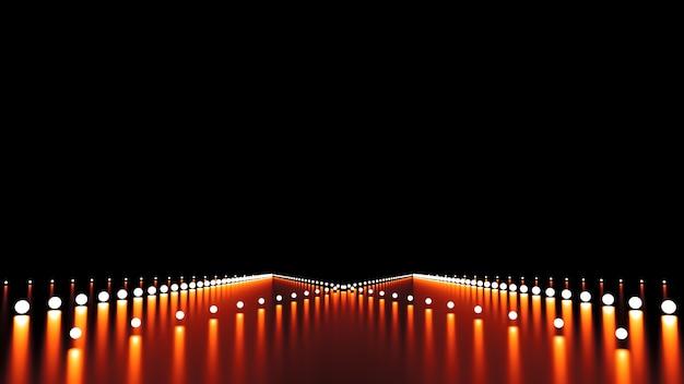 Abstrait avec lueur et route. illustration 3d, rendu 3d.