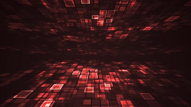 Abstrait lumière rouge clignotant perspective de grille rectangle