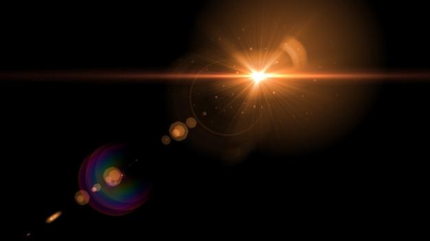 Abstrait lumière rougeoyante soleil éclaté avec flare de lentille numérique