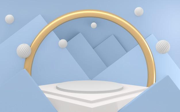 Abstrait de luxe bleu podium doré abstrait de style géométrique blanc et or minimal