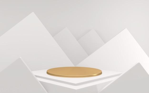 Abstrait de luxe podium doré minimal abstrait de style géométrique blanc et or