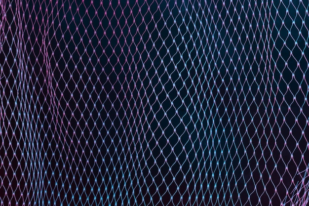 Abstrait maille filet avec néons holographiques ultraviolets colorés. concept créatif.