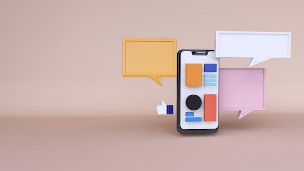 Abstrait, maquette d'application de téléphone de scène avec espace de chat, pour le web. rendu 3d