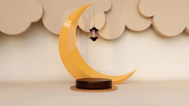 Abstrait, maquette de scène pour le concept d'affichage de produit de ramadan mubarak. rendu 3d