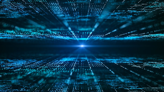 Abstrait de matrice numérique. concept de technologie d'information big data futuriste.