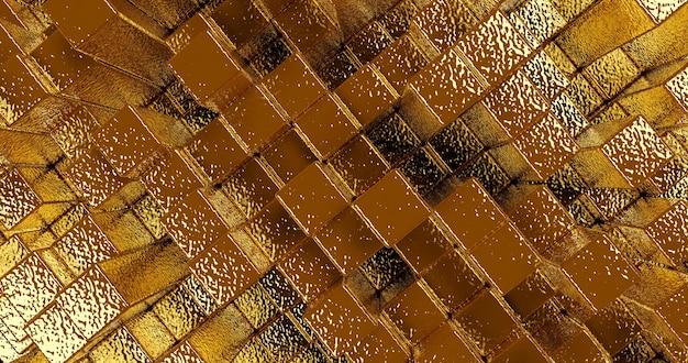 Abstrait métallique or à partir de cubes, image panoramique