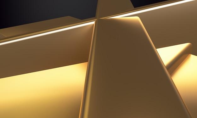 Abstrait minimaliste, figures géométriques primitives or, rendu 3d.