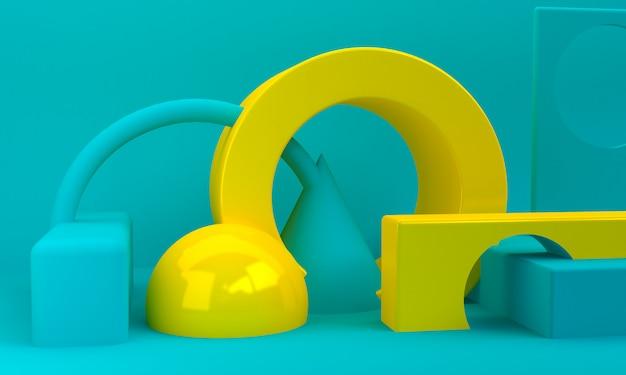 Abstrait minimaliste, figures géométriques primitives, rendu 3d.