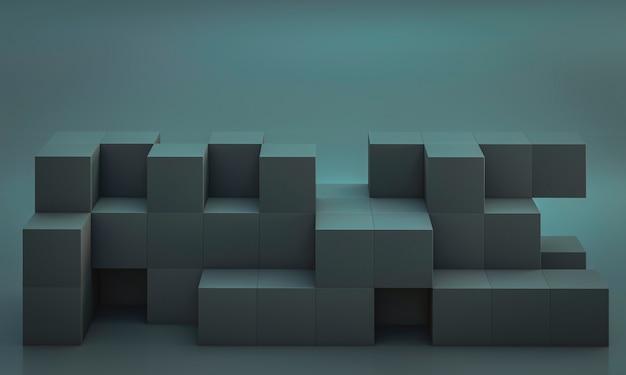 Abstrait minimaliste avec des formes cubiques