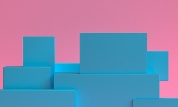 Abstrait minimaliste, géométrique primitif, rendu 3d.