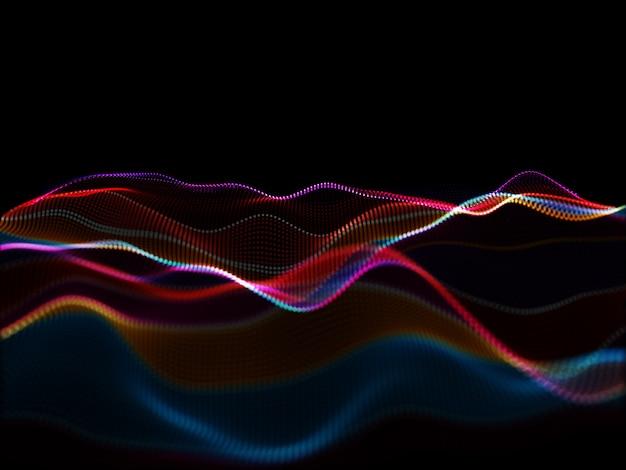 Abstrait moderne 3d avec des particules qui coulent