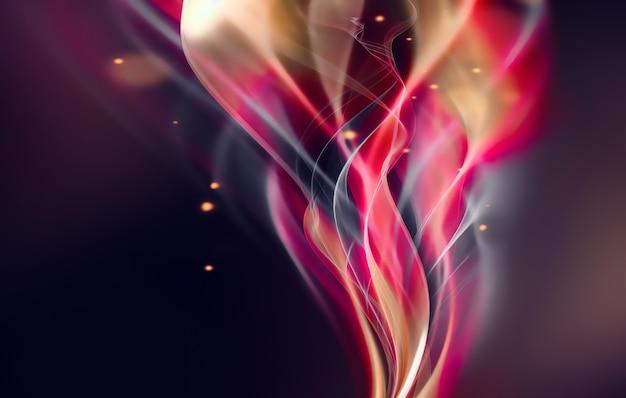 Abstrait moderne avec des lignes ondulées rougeoyantes