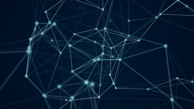 Abstrait molécule futuriste structure couleur bleu fond noir