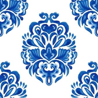 Abstrait mosaïque arabesque damassé aquarelle modèle sans couture dessiné à la main pour la conception de tissu et de céramique.