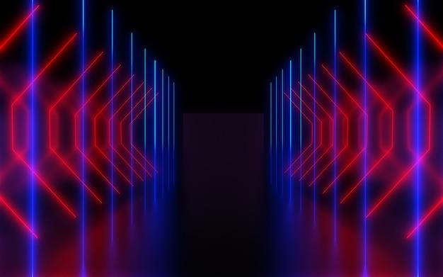 Abstrait néon foncé. illustration 3d