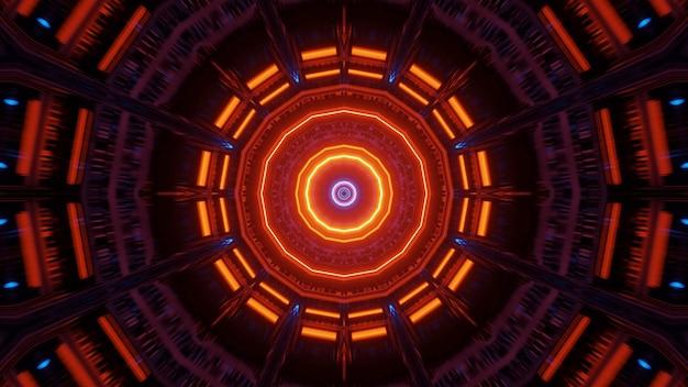 Abstrait avec néons lumineux colorés circulaires, un fond d'écran de rendu 3d