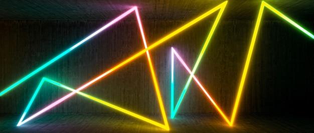 Abstrait avec des néons lumineux de différentes couleurs.