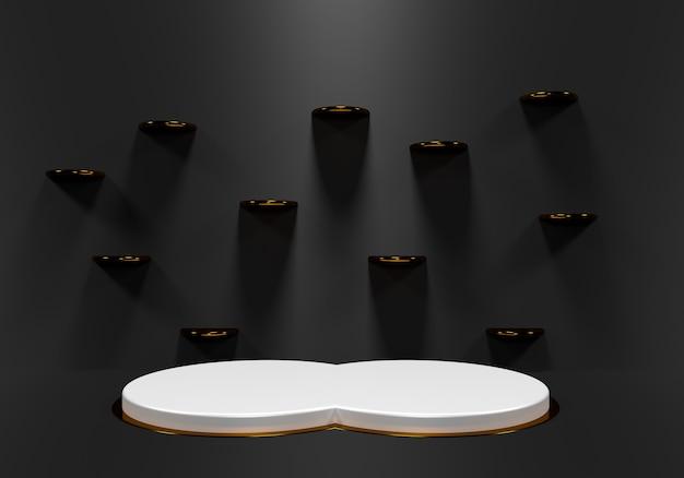 Abstrait noir avec podium de forme géométrique pour produit. rendu 3d photo premium