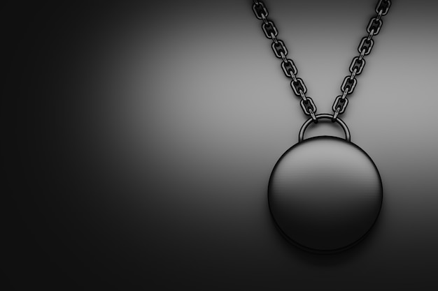 Abstrait noir avec suspension en métal rond sur des chaînes. illustration 3d.