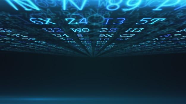 Abstrait numérique. langage machine. code hexadécimal. chiffres et lettres aléatoires colorés illustration 3d.