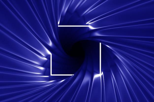Abstrait or illuminé avec cadre néon illuminé illustration 3d