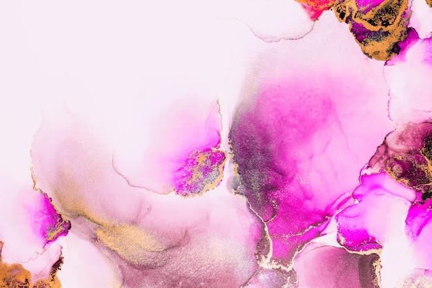 Abstrait or rose de peinture d'art à l'encre liquide en marbre sur papier.