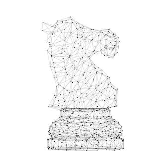 Abstrait origami mash lines et dots chess horse sur fond blanc. rendu 3d