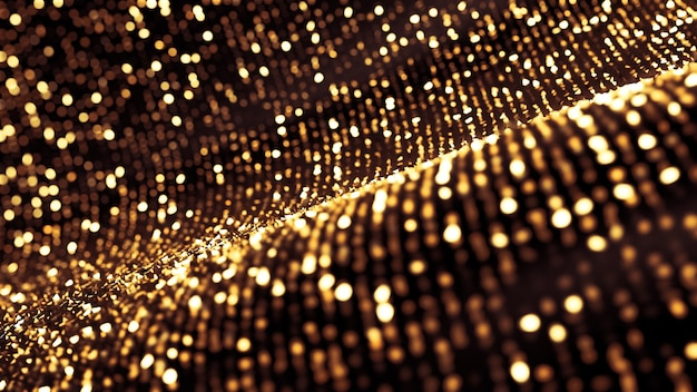 Abstrait de paillettes. des étincelles et des reflets d'or. illustration 3d, rendu 3d.