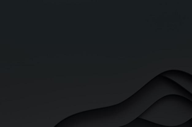 Abstrait papier noir coupé design d'arrière-plan art pour modèle de site web ou modèle de présentation, fond noir