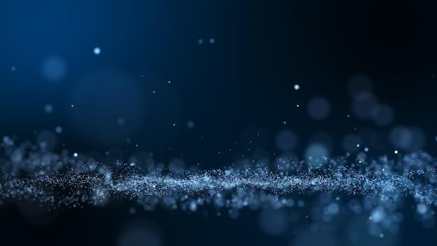 Abstrait de particules bleu foncé et lueur.