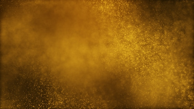Abstrait de particules de poussière brun jaune or foncé et lueur.
