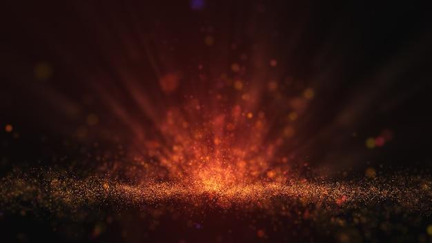 Abstrait de particules de poussière jaune or foncé et lueur.