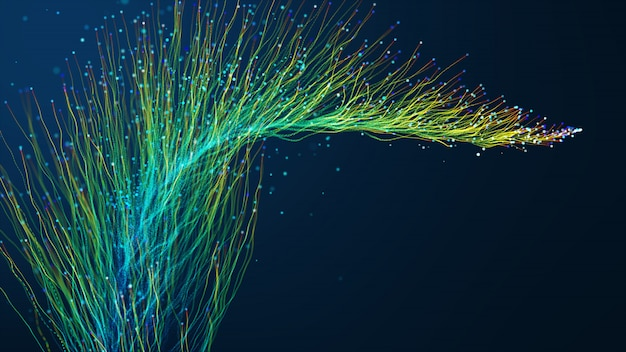 Abstrait avec des particules rougeoyantes d'animation se déplaçant des lignes pour les câbles de réseau de fibre optique répartis sur le cadre.