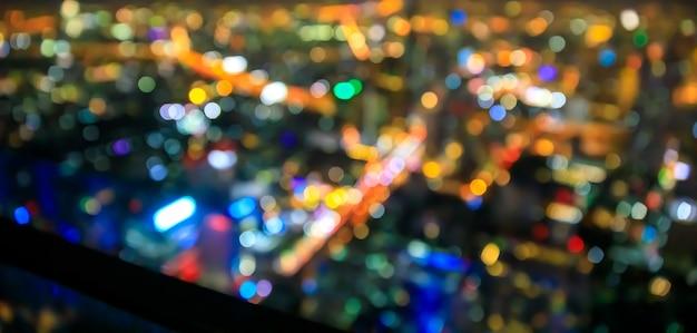 Abstrait paysage urbain bokeh, photo floue, paysage urbain de nuit