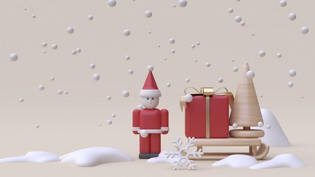 Abstrait père noël et cadeau boîte traîneau hiver neige nouvel an style cartoon bois jouet minimal crème fond rendu 3d