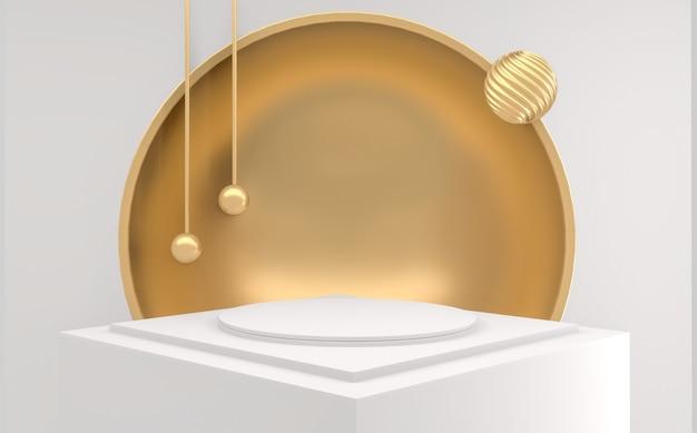 Abstrait podium doré minimaliste abstrait de style géométrique blanc et or