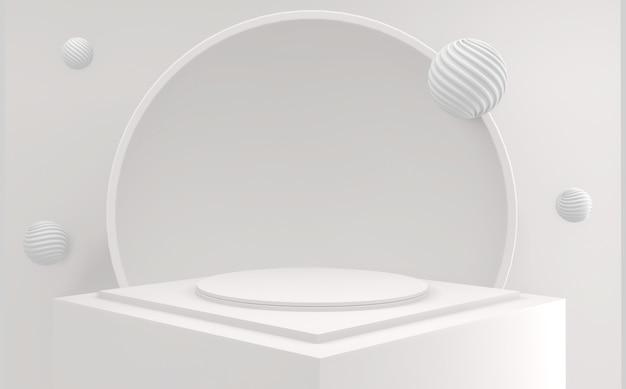 Abstrait podium minimal géométrique abstrait de style blanc et or