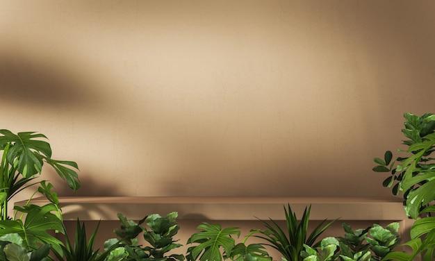 Abstrait pour la marque et la présentation ombre de plantes tropicales pare-soleil sur l'étape de ciment brun