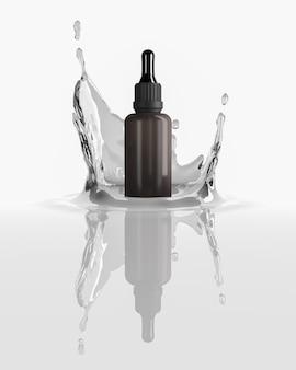 Abstrait pour la présentation cosmétique. le flacon compte-gouttes est sur une éclaboussure d'eau en studio blanc. rendu 3d