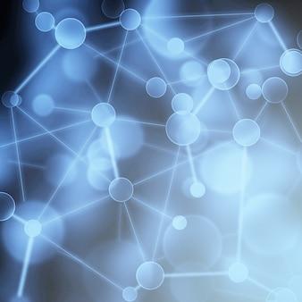 Abstrait de réseau. réseau social neuronal concept de structure de connexion scientifique de réseau blockchain. fond bleu virtuel avec des composés génétiques et chimiques de structure de molécule de particule