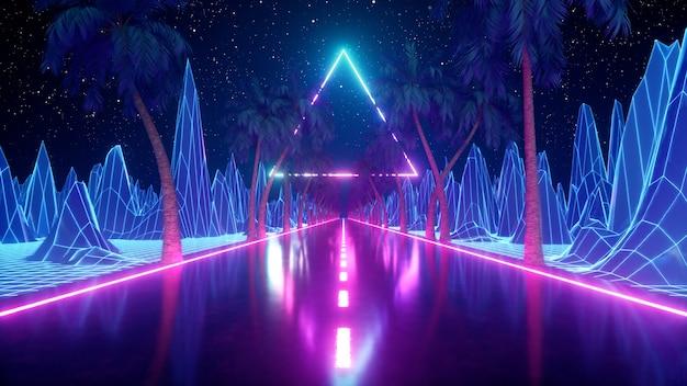Abstrait rétro futuriste des années 80. belle avec des lumières modernes de triangle néon ultraviolet. stylisation de vague rétro.