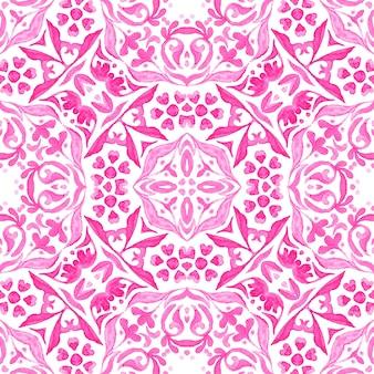 Abstrait rose et blanc dessiné à la main tuile transparente motif de peinture aquarelle ornementale.