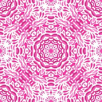 Abstrait rose magenta et blanc médaillon motif ornemental sans soudure. modèle de tuile aquarelle